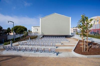 Modern permanent seating for the outdoor stage