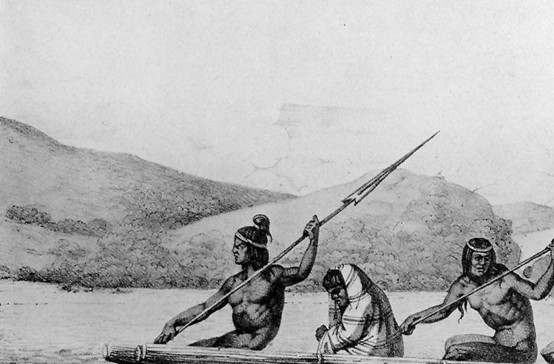 Ohlone Indians in canoe