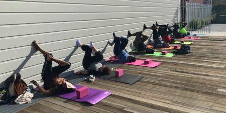 Community Yoga on outdoor stage