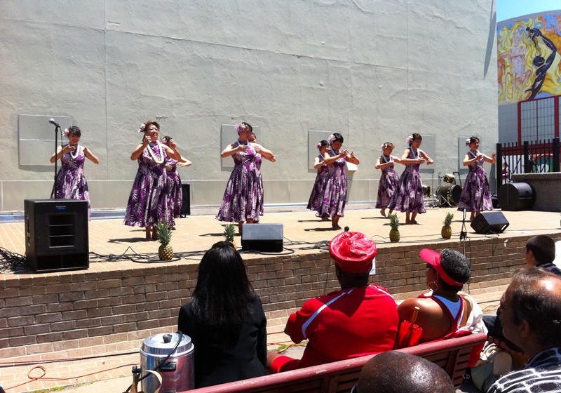 Bayview Opera House outdoor stage before renovation with Hula dancers